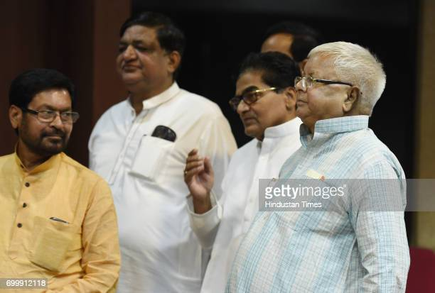 RJD leader Lalu Prasad Jai Prakash Narain Samajwadi party leader Prof Ram Gopal Yadav and others during all opposition party meeting to decide a...