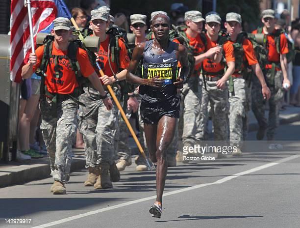 Leader Levy Matebo during the Boston Marathon