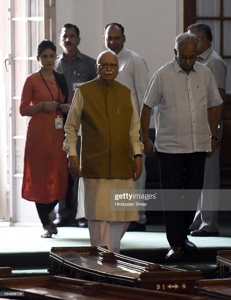 BJP leader L K Advani after paying tribute to right-wing ideologue Veer Savarkar on his 133 birth anniversary, at Central Hall of Parliament House, on May 28, 2016 in New Delhi, India. Born on May 28, 1883 in Nashik in Maharashtra, Vinayak Damodar Savarkar, later known as Swatantraveer Savarkar, was a revolutionary and Hindu nationalist who was imprisoned by the British in the Cellular Jail in Andaman and Nicobar Islands.
