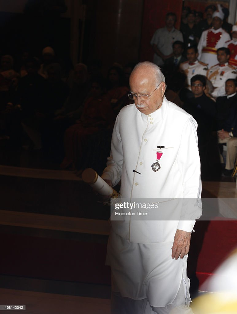 BJP Leader LK Advani after receiving the Padma Vibhushan award from President Pranab Mukherjee during a Civil Investiture Ceremony at Rashtrapati Bhavan on March 30, 2015 in New Delhi, India. Senior leader of the Bharatiya Janata Party Advani served as Minister of Home Affairs in the BJP-led National Democratic Alliance government from 1998 to 2004. Additionally, he served as Deputy Prime Minister of India from 2002 to 2004 under Atal Bihari Vajpayee. He was the Leader of the Opposition in the 10th Lok Sabha and 14th Lok Sabha.