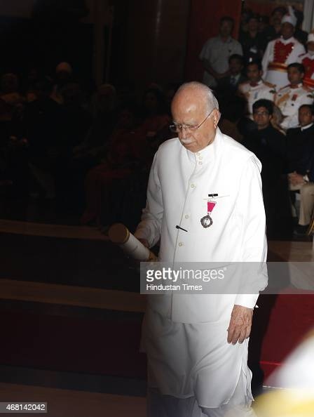 Leader LK Advani after receiving the Padma Vibhushan award from President Pranab Mukherjee during a Civil Investiture Ceremony at Rashtrapati Bhavan...