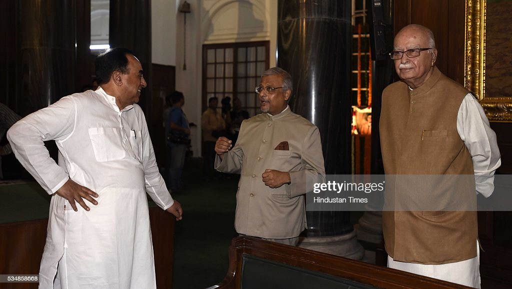BJP leader L K Advani, and party MP Subramanium Swami after paying tribute to right-wing ideologue Veer Savarkar on his 133 birth anniversary, at Central Hall of Parliament House, on May 28, 2016 in New Delhi, India. Born on May 28, 1883 in Nashik in Maharashtra, Vinayak Damodar Savarkar, later known as Swatantraveer Savarkar, was a revolutionary and Hindu nationalist who was imprisoned by the British in the Cellular Jail in Andaman and Nicobar Islands.