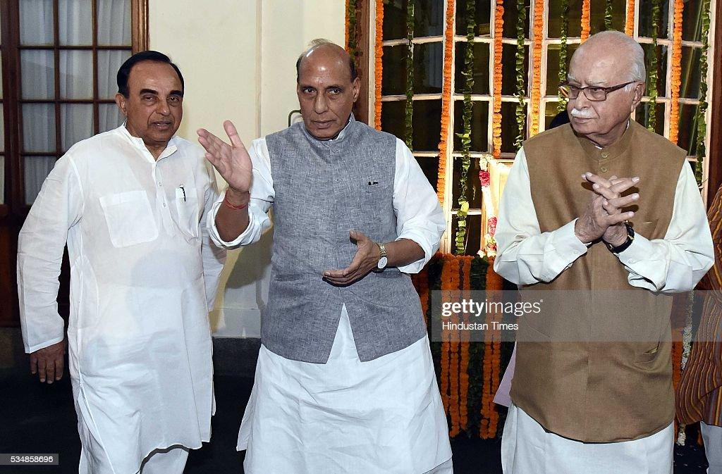 BJP leader L K Advani, Home Minister Rajnath Singh and party MP Subramanium Swami after paying tribute to right-wing ideologue Veer Savarkar on his 133 birth anniversary, at Central Hall of Parliament House, on May 28, 2016 in New Delhi, India. Born on May 28, 1883 in Nashik in Maharashtra, Vinayak Damodar Savarkar, later known as Swatantraveer Savarkar, was a revolutionary and Hindu nationalist who was imprisoned by the British in the Cellular Jail in Andaman and Nicobar Islands.