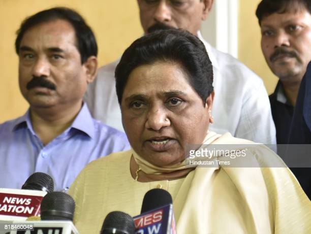 BSP leader Maya Wati addressing the media persons and threatened to resign at Parliament House on July 18 2017 in New Delhi India Bahujan Samaj Party...