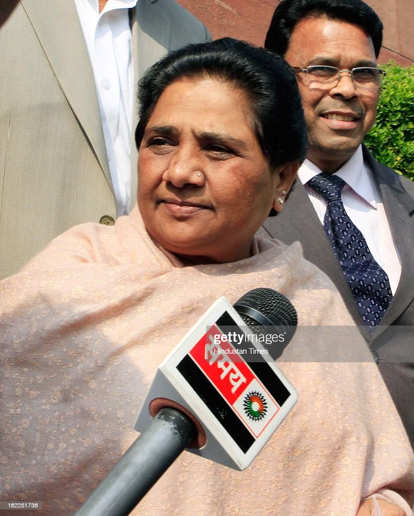BSP leader Mayawati at Parliament during the opening day of Budget session on February 21, 2013 in New Delhi, India.