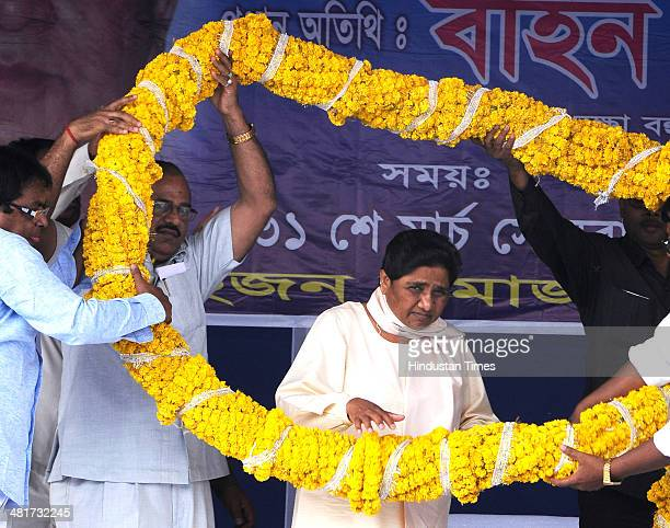 BSP leader Mayawati during a workers meet at Shahid Minar ground for Lok Sabha election 2014 on March 31 2014 in Kolkata India The incumbent Congress...