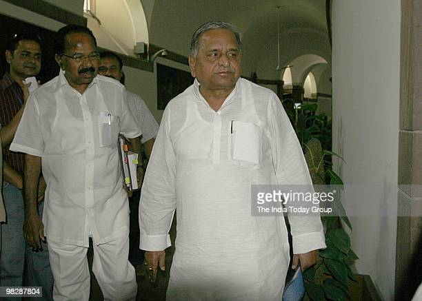 SP leader Mulayam Singh Yadav at the allparty meeting to end the impasse over the Women's Reservation Bill on Monday April 5 2010