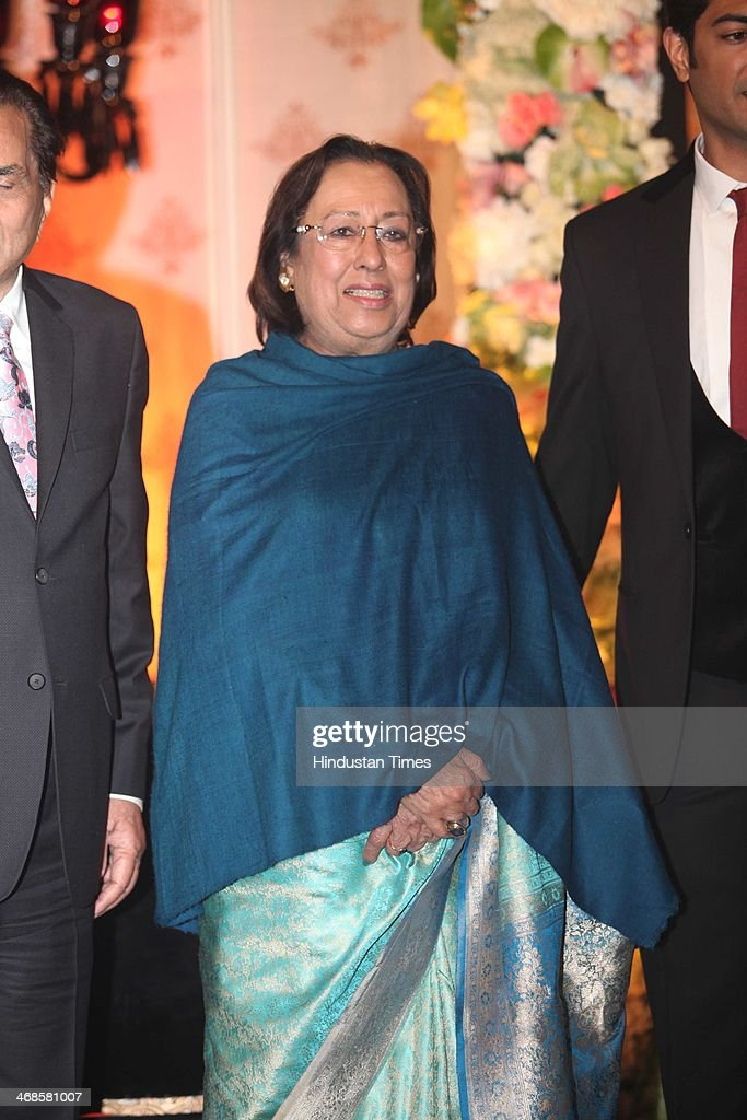 BJP leader Najma Heptulla during the wedding reception of Ahana Deol and Vaibhav Vohra on February 5, 2014 in New Delhi, India. Ahana, a budding Odissi dancer, is the daughter of Bollywood stars Dharmendra and Hema Malini while Vaibhav in an Indian businessman. They married on February 2, 2014 in Mumbai.