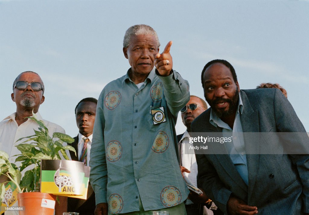 ANC leader Nelson Mandela (L) on the campaign trail with ANC Natal representative Jacob Zuma during South Africa's first democratic elections on April 16, 1994 in Ladysmith, Kwazulu Natal, South Africa.