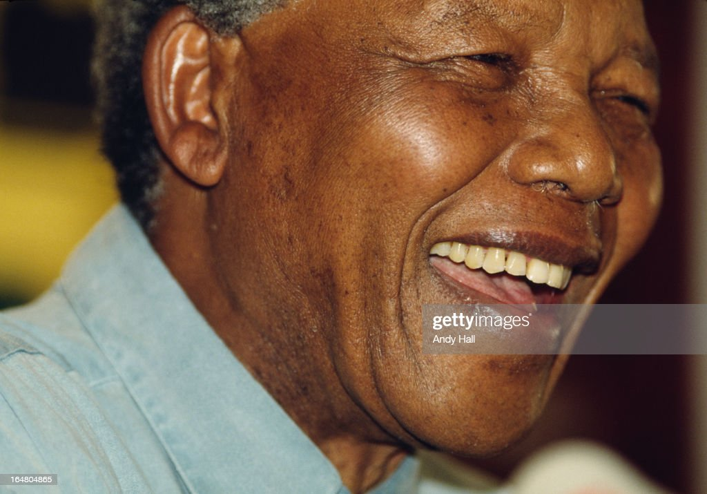 ANC leader Nelson Mandela talks to the Media during a visit to the United Kingdom during May 1993 in London,England.