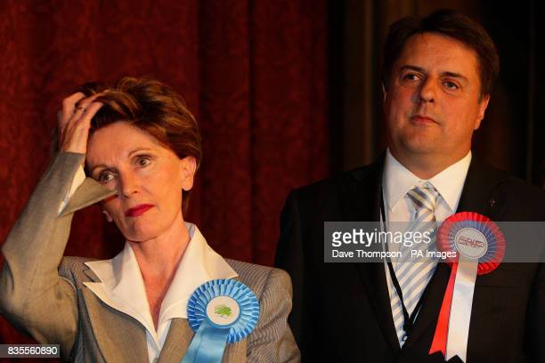 BNP Leader Nick Griffin and Conservative MEP Jacqueline Foster after the results of the European Parliamentary Election were announced at Manchester...