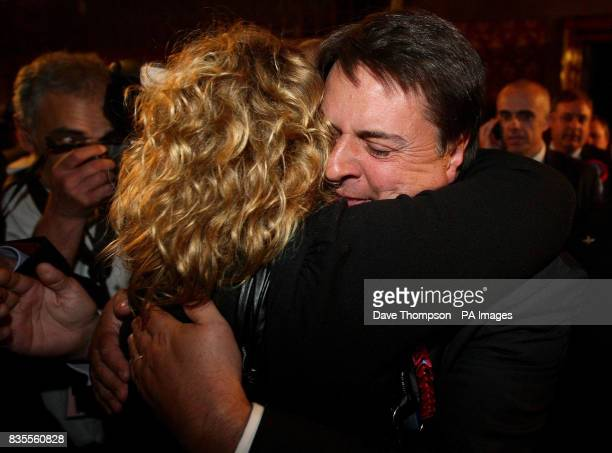 BNP Leader Nick Griffin celebrates with his wife Jackie after the results of the European Parliamentary Election were announced at Manchester Town...