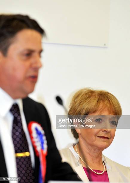 BNP leader Nick Griffin replies to Labour MP Margaret Hodge after she won the Barking seat at the Goresbrook Leisure Centre in Dagenham Essex