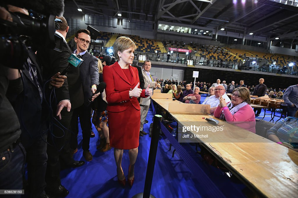 SNP leader <a gi-track='captionPersonalityLinkClicked' href=/galleries/search?phrase=Nicola+Sturgeon&family=editorial&specificpeople=2582617 ng-click='$event.stopPropagation()'>Nicola Sturgeon</a> arrives at the count for the Scottish Parliament elections at the Emirates Arena on May 6, 2016 in Glasgow,Scotland. The first declarations are expected at about 02:00 on Friday, with the final result at about 08:00 opinion polls ahead of the vote suggested the SNP was on course to win a third successive victory.