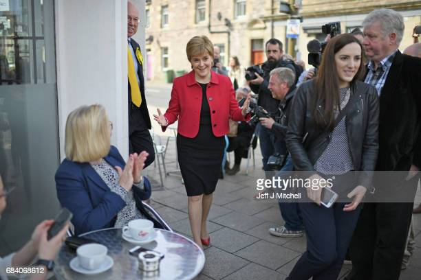 SNP leader Nicola Sturgeon campaigns with the candidate for East Lothian George Kerevan on May 17 2017 in Mussleburgh Scotland Britain goes to the...