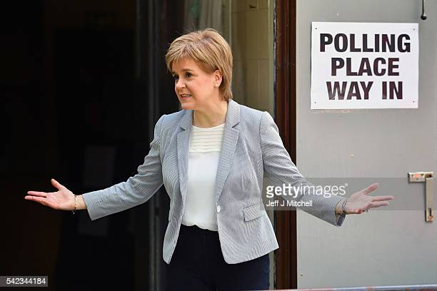 Leader Nicola Sturgeon casts her vote in the EU referendum at Broomhouse Community Hall on June 23 2016 in Glasgow Scotland Voters across the country...
