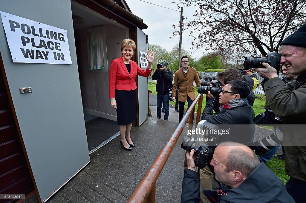 Leader <a gi-track='captionPersonalityLinkClicked' href=/galleries/search?phrase=Nicola+Sturgeon&family=editorial&specificpeople=2582617 ng-click='$event.stopPropagation()'>Nicola Sturgeon</a> casts her vote in the Scottish Parliamentary election at Broomhouse Community Hall on May 5, 2016 in Glasgow, Scotland. Today, dubbed 'Super Thursday', sees the British public vote in countrywide elections to choose members for the Scottish Parliament, the Welsh Assembly, the Northern Ireland Assembly, Local Councils, a new London Mayor and Police and Crime Commissioners. There are around 45 million registered voters in the UK and polling stations open from 7am until 10pm.