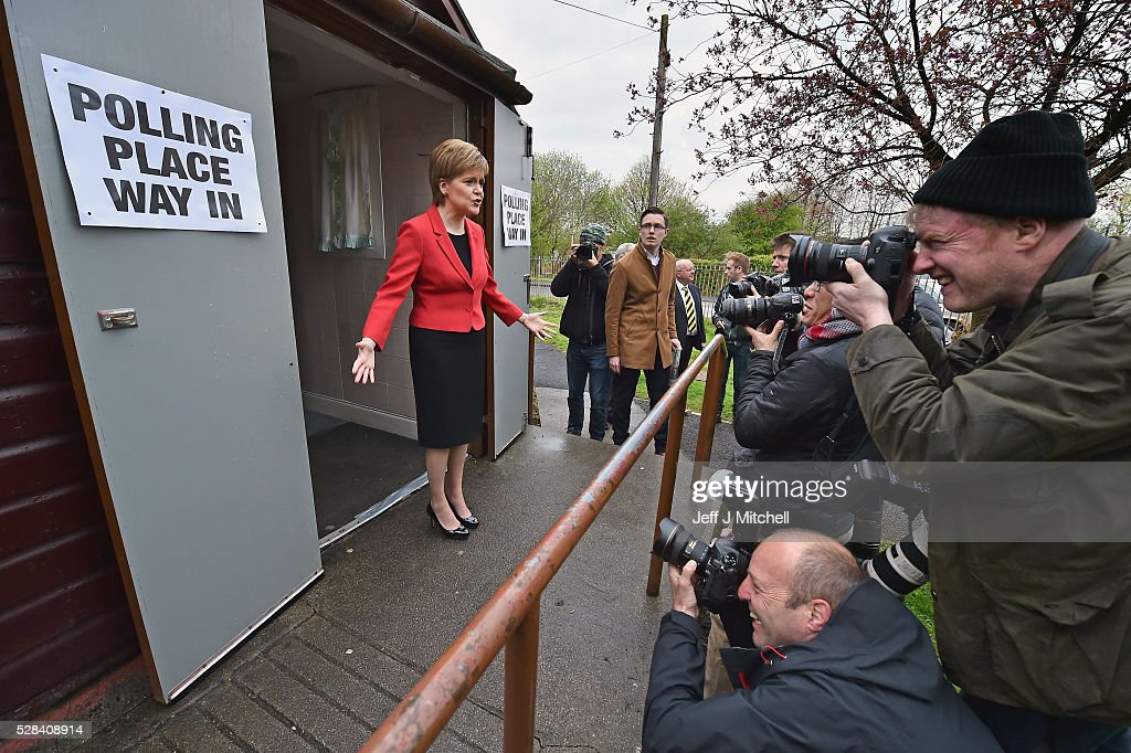 Leader Nicola Sturgeon casts her vote in the Scottish Parliamentary election at Broomhouse Community Hall on May 5, 2016 in Glasgow, Scotland. Today, dubbed 'Super Thursday', sees the British public vote in countrywide elections to choose members for the Scottish Parliament, the Welsh Assembly, the Northern Ireland Assembly, Local Councils, a new London Mayor and Police and Crime Commissioners. There are around 45 million registered voters in the UK and polling stations open from 7am until 10pm.