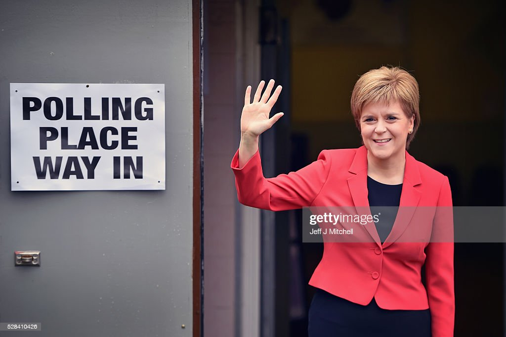 Leader <a gi-track='captionPersonalityLinkClicked' href=/galleries/search?phrase=Nicola+Sturgeon&family=editorial&specificpeople=2582617 ng-click='$event.stopPropagation()'>Nicola Sturgeon</a> casts her vote in the Scottish Parliamentary election at Broomhouse Community Hall on May 5, 2016 in Glasgow,Scotland. Today, dubbed 'Super Thursday', sees the British public vote in countrywide elections to choose members for the Scottish Parliament, the Welsh Assembly, the Northern Ireland Assembly, Local Councils, a new London Mayor and Police and Crime Commissioners. There are around 45 million registered voters in the UK and polling stations open from 7am until 10pm.