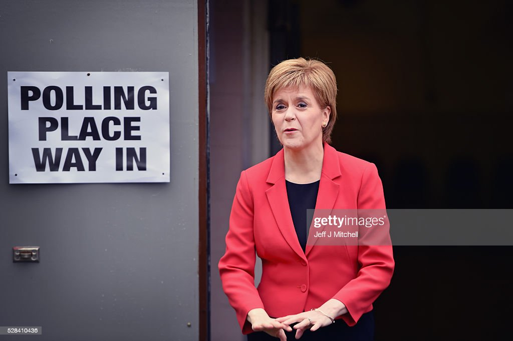 Leader Nicola Sturgeon casts her vote in the Scottish Parliamentary election at Broomhouse Community Hall on May 5, 2016 in Glasgow,Scotland. Today, dubbed 'Super Thursday', sees the British public vote in countrywide elections to choose members for the Scottish Parliament, the Welsh Assembly, the Northern Ireland Assembly, Local Councils, a new London Mayor and Police and Crime Commissioners. There are around 45 million registered voters in the UK and polling stations open from 7am until 10pm.