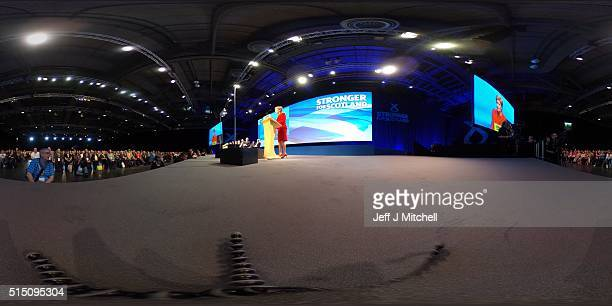 SNP leader Nicola Sturgeon delivers her keynote speech to the Scottish National Party Spring conference on March 12 2016 in Glasgow Scotland Leader...