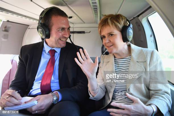 SNP leader Nicola Sturgeon departs by helicopter while campaigning for the General Election on June 3 2017 in Dumfries Scotland As all party's gear...