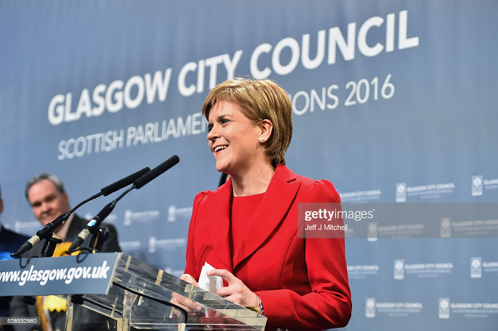 SNP leader <a gi-track='captionPersonalityLinkClicked' href=/galleries/search?phrase=Nicola+Sturgeon&family=editorial&specificpeople=2582617 ng-click='$event.stopPropagation()'>Nicola Sturgeon</a> gives a speech after winning her seat Glasgow Southside in the Scottish Parliament elections at the Emirates Arena on May 6, 2016 in Glasgow,Scotland. The SNP, Conservatives and Liberal Democrats political parties have enjoyed a successful evening but the Labour's vote has fallen in the Holyrood election.