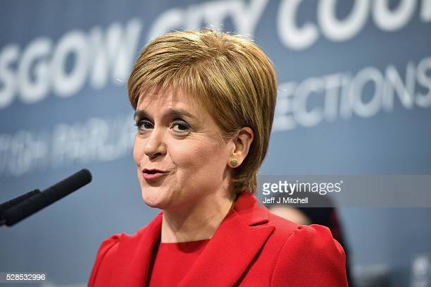 SNP leader Nicola Sturgeon gives a speech after winning her seat Glasgow Southside in the Scottish Parliament elections at the Emirates Arena on May...