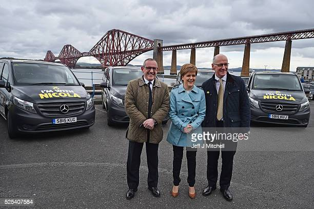 SNP leader Nicola Sturgeon is joined by Deputy Leader Stewart Hosie and Campaign Director John Swinney and a fleet of 'I'm with Nicola' SNP people...
