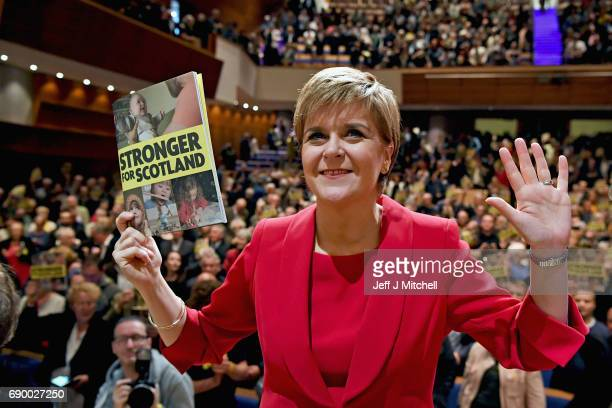 SNP leader Nicola Sturgeon launches the party's general election manifesto at the Perth Concert Hall on May 30 2017 in Perth Scotland The First...
