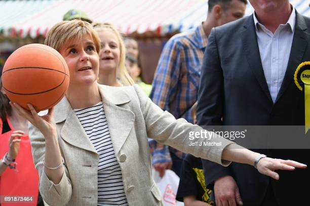 SNP leader Nicola Sturgeon plays basketball while campaigning for the General Election on June 3 2017 in Dumfries Scotland As all party's gear up for...