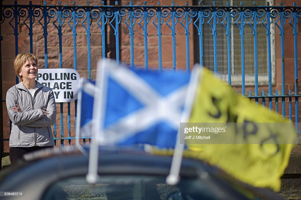 SNP Leader Nicola Sturgeon returns to her constituency to meet voters at polling stations on May 5, 2016 in Glasgow,Scotland. Today, dubbed 'Super Thursday', sees the British public vote in countrywide elections to choose members for the Scottish Parliament, the Welsh Assembly, the Northern Ireland Assembly, Local Councils, a new London Mayor and Police and Crime Commissioners. There are around 45 million registered voters in the UK and polling stations open from 7am until 10pm.