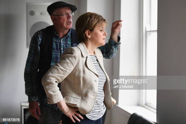 SNP leader Nicola Sturgeon visits The Stove while campaigning for the General Election on June 3 2017 in Dumfries Scotland As all party's gear up for...