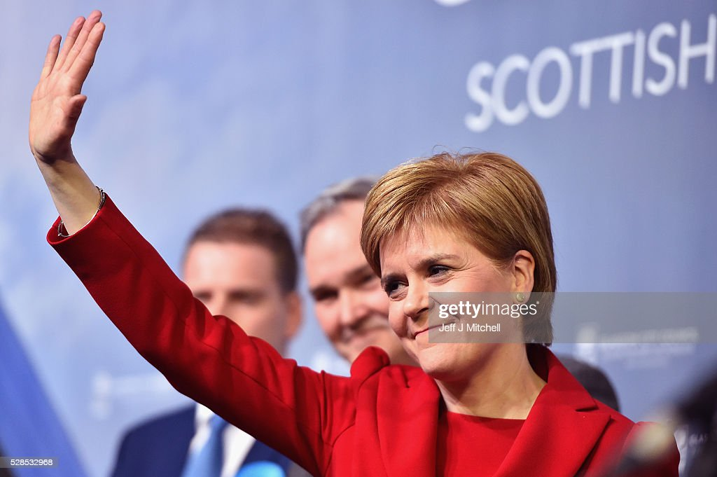 SNP leader <a gi-track='captionPersonalityLinkClicked' href=/galleries/search?phrase=Nicola+Sturgeon&family=editorial&specificpeople=2582617 ng-click='$event.stopPropagation()'>Nicola Sturgeon</a> waves after winning her seat Glasgow Southside in the Scottish Parliament elections at the Emirates Arena on May 6, 2016 in Glasgow,Scotland. The SNP, Conservatives and Liberal Democrats political partys have enjoyed a successful evening but the Labour's vote has fallen in the Holyrood election.