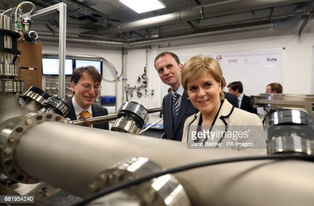 SNP leader Nicola Sturgeon with North East Fife candidate Stephen Gethins and physicist Dr Peter Wahl take a closer look at a Molecular Beam epitaxy...