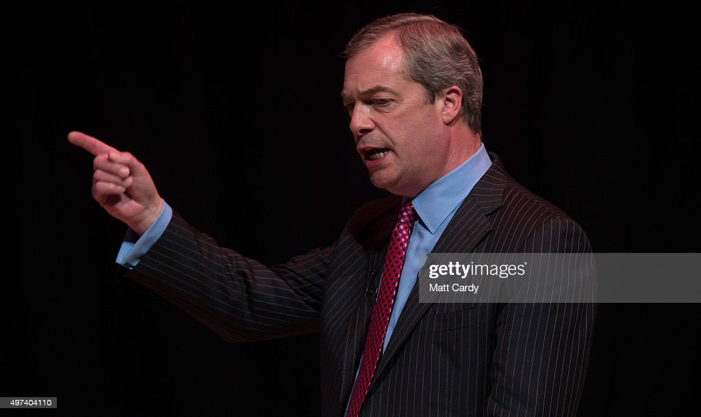 UKIP leader Nigel Farage addresses supporters at a 'Say No To Europe' meeting at the Anvil on November 16 2015 in Basingstoke England The rightwing...