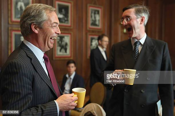 UKIP leader Nigel Farage and Jacob ReesMogg MP speak ahead of the Bruges Group press conference on May 17 2016 in London England The event focused on...