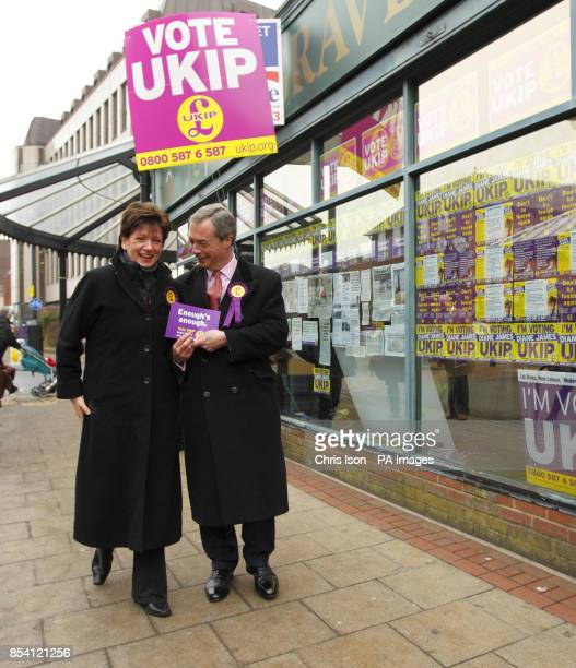 UKIP leader Nigel Farage and the party's prospective candidate Diane James on the hustings in Eastleigh Hampshire where a byelection will be held on...