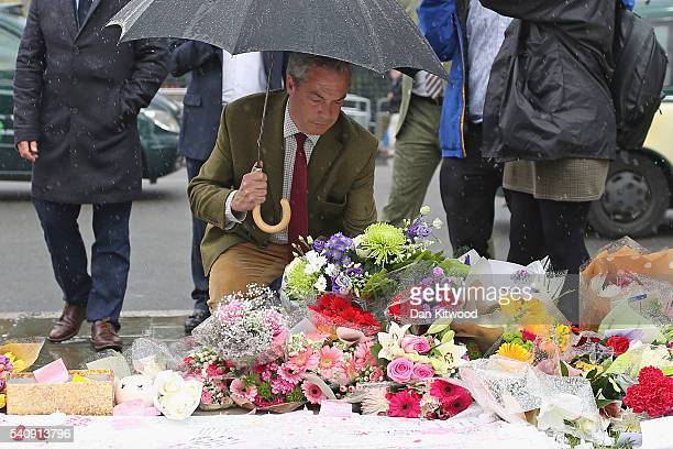 UKIP leader Nigel Farage arrives to leave a tribute to Jo Cox on Parliament Square on June 17 2016 in London United Kingdom Jo Cox Labour MP for...