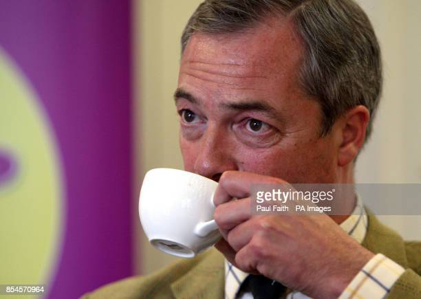 Leader Nigel Farage being interviewed by the Press Association in Belfast during a one day visit to the province where he also met his party's...