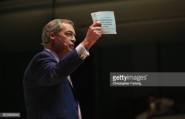 UKIP leader Nigel Farage criticises the government's EU referendum information pamphlet a he addresses a Grassroots Out rally at Victoria Hall on...