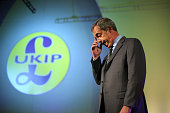 UKIP leader Nigel Farage delivers his keynote speech at the annual UKIP party conference on September 26 2014 in Doncaster England Mr Farage is...