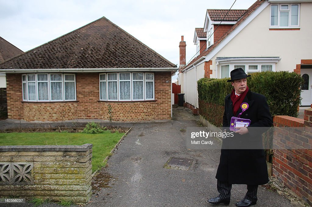 Leader Nigel Farage knocks on a doors in a residential street as he campaigns for the forthcoming by-election on February 22, 2013 in Eastleigh, Hampshire. The by-election is being fought for the former seat of ex-Liberal Democrat MP Chris Huhne and will be held on February 28, 2013.