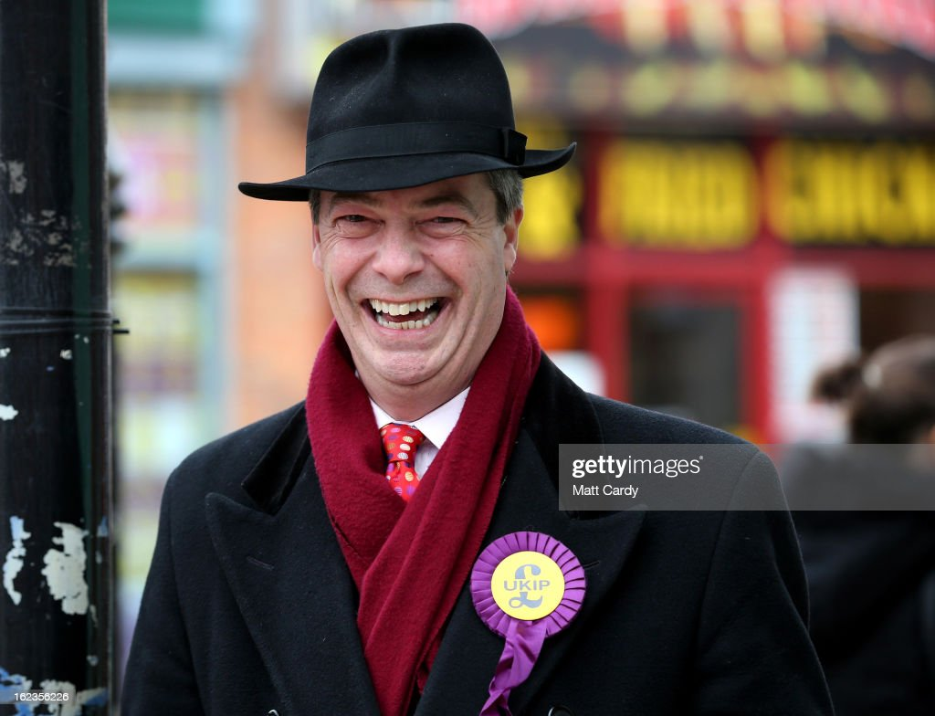 Leader Nigel Farage laughs as he helps campaign for the forthcoming by-election on February 22, 2013 in Eastleigh, Hampshire. The by-election is being fought for the former seat of ex-Liberal Democrat MP Chris Huhne and will be held on February 28, 2013.