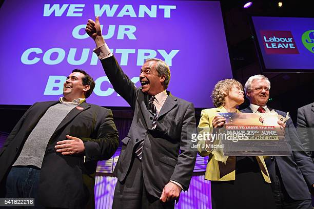 Leader Nigel Farage MEP reacts during the final 'We Want Our Country Back' public meeting of the EU Referendum campaign on June 20 2016 in Gateshead...