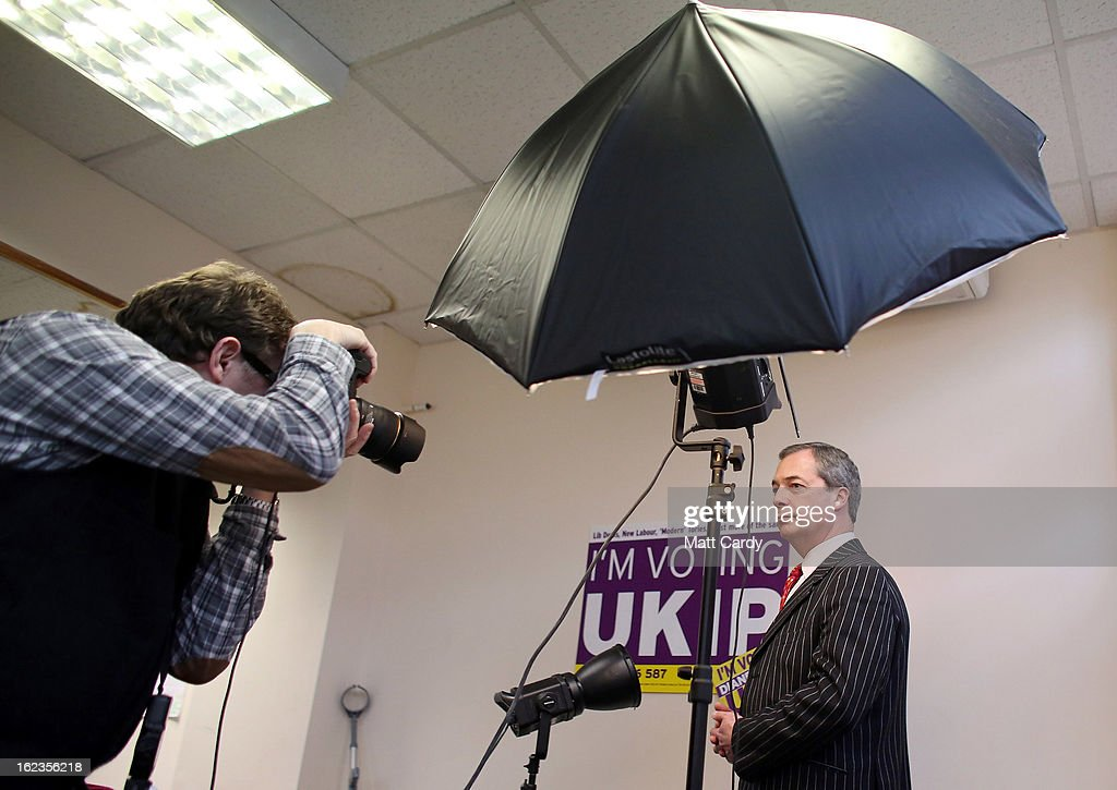Leader Nigel Farage poses for a portrait photographer in the local UKIP office as he helps campaign for the forthcoming by-election on February 22, 2013 in Eastleigh, Hampshire. The by-election is being fought for the former seat of ex-Liberal Democrat MP Chris Huhne and will be held on February 28, 2013.
