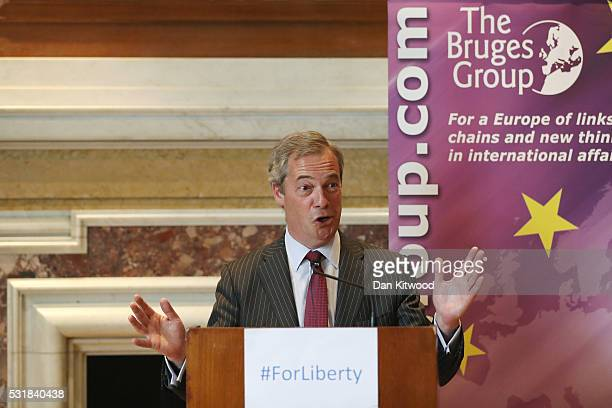 UKIP leader Nigel Farage speaks during a 'Bruges Group' press conference at on May 17 2016 in London England The event focused on the issues...
