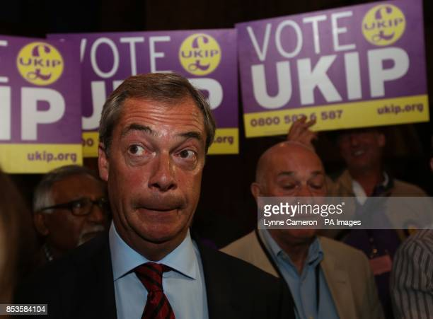 UKIP leader Nigel Farage speaks to the press after Conservative MP Robert Jenrick is announced the winner of the byelection at Kelham Hall Newark