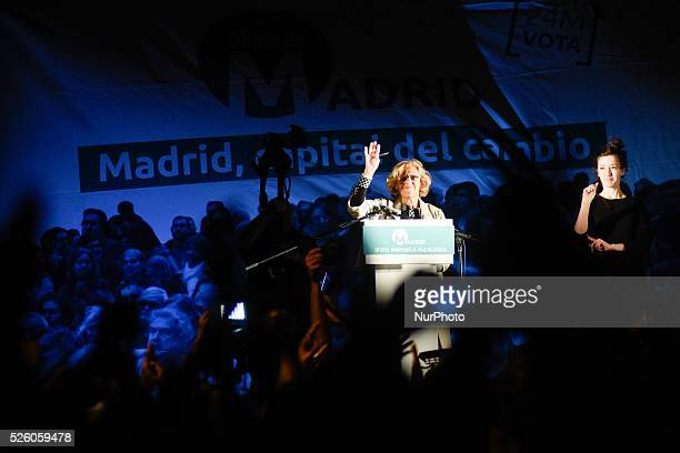 Leader of 'Ahora Madrid' party and candidate for mayor of Madrid Manuela Carmena celebrates during a press conference following the results in...