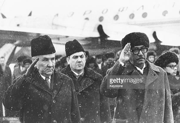 Leader of Bangladesh Sheikh Mujibur Rahman and Soviet Prime Minister Alexei Kosygin saluting as they meet at the airport in Moscow March 9th 1972